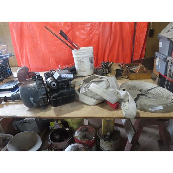 """Pacer 2' Water Pump 3 1/2"""" Briggs & Stratton w 2 Lengths of Fireman Hose"""