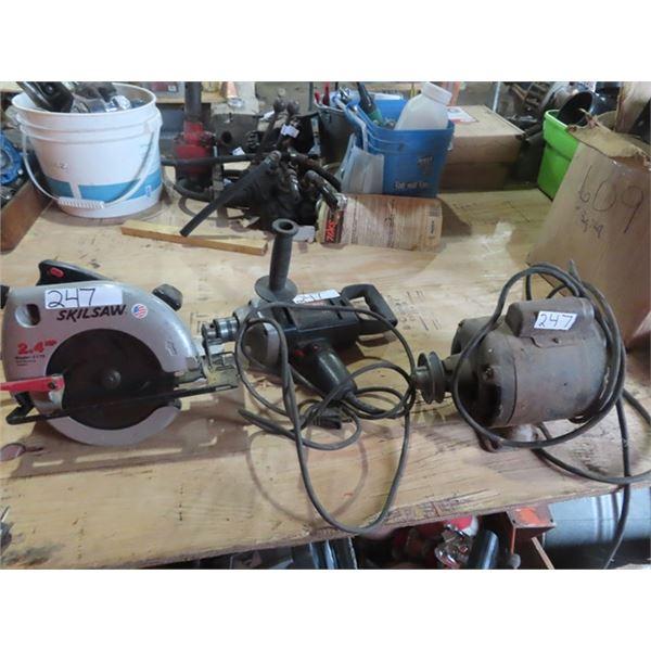 Power Tools- Circ Skil Saw, Craftsman Drill & Elec Motor