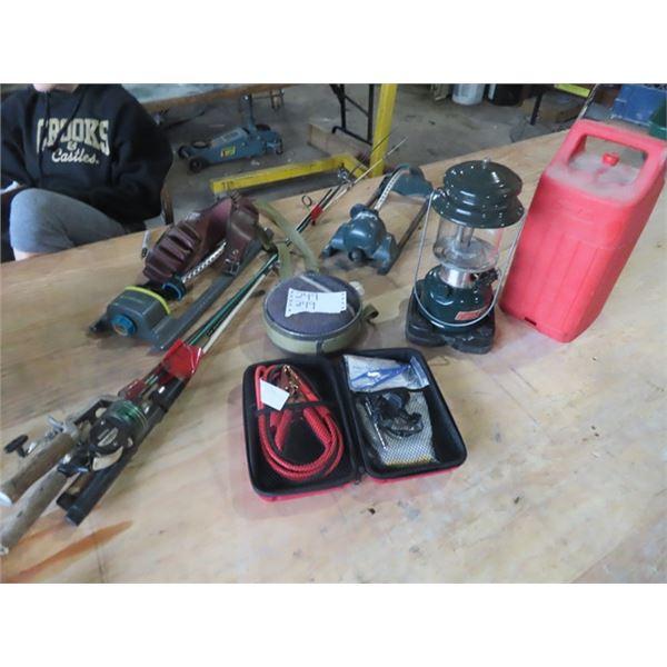 Coleman Lantern, Fishing Rods, Vehicle Emergency Kit, Canteen & Ammo Belt