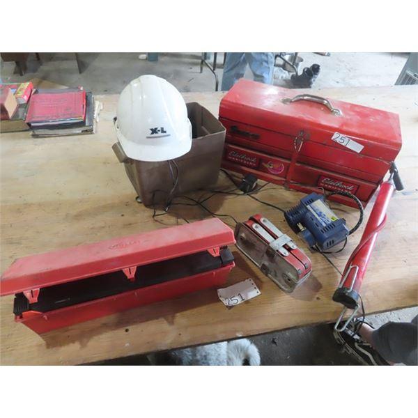Snap On Tool Box, Road Flares, Air Pump Plus!