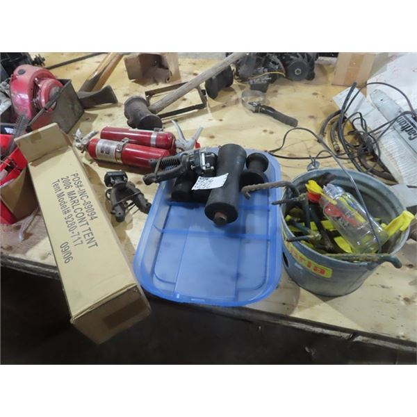 Boat Rollers, Tent, Tent Pegs, Darts, & Fire Extinguishers
