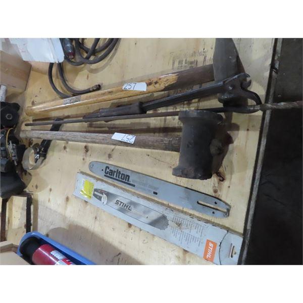 Chainsaw Bars, 14LB Post Malt, & Nail Puller