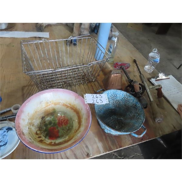 Wire Basket, Press Drill, Cow Bell, Enamel Strainer
