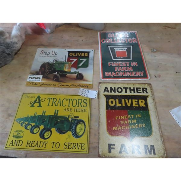 4 Metal Tractor Signs - 3 Are Oliver & 1 JD
