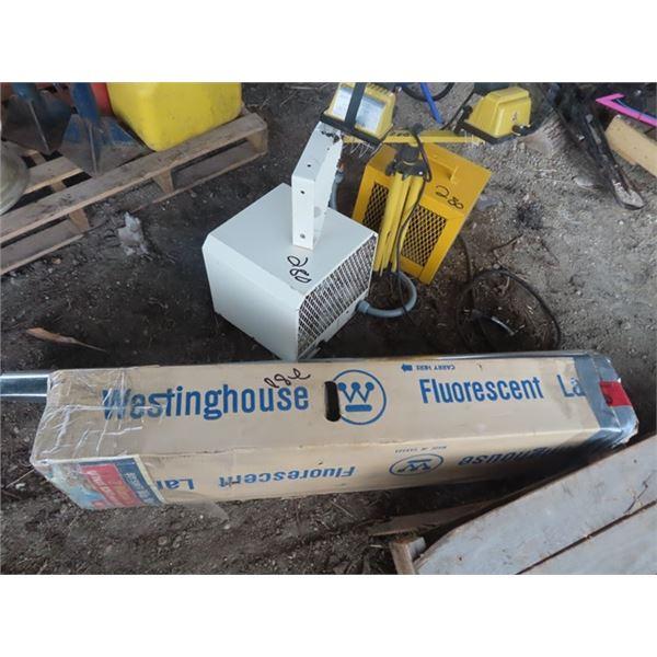 3 Construction Heaters, Halogen Light, Partial Box of Fluorescent Lights