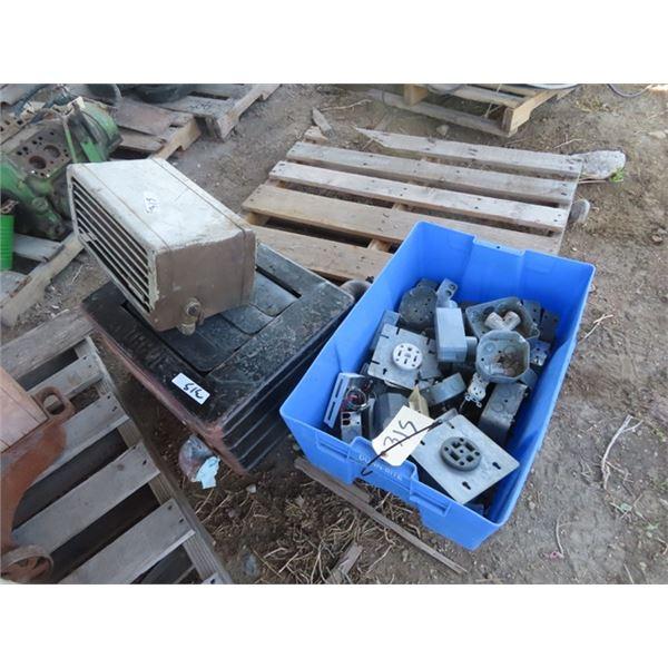 2 Elec Heaters, Elec Boxes, Plugs, Plus More