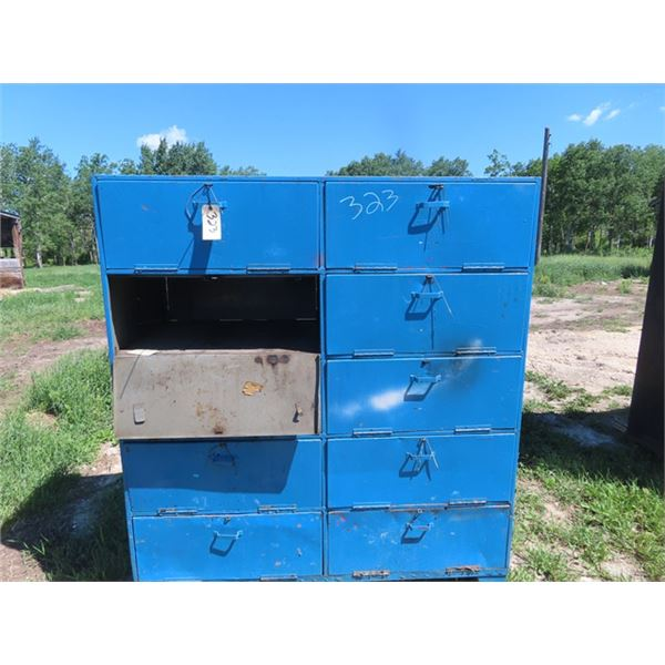 "Metal 10 Compartment Locking Shelving Unit 69""H 62""W 28""D"