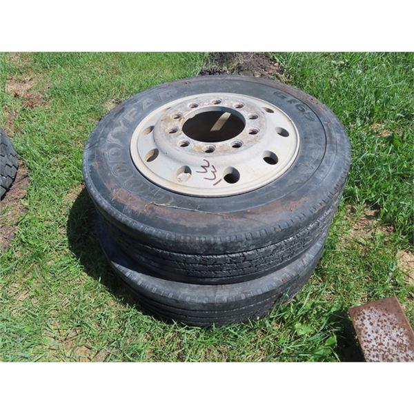 2 Tires & Rims - 275 70R 22.5