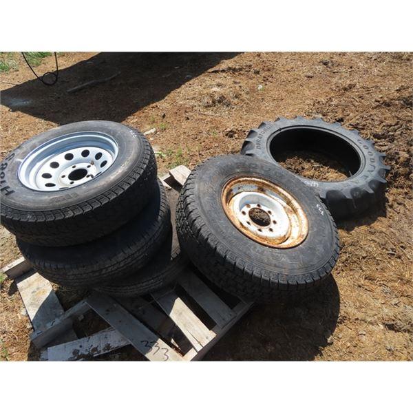 """Tires - 9.5 - 24, 235 85 16 w Rim, Plus 3 14"""" Tires"""
