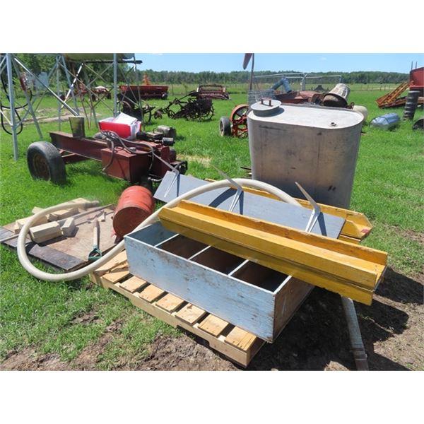Wooden Loading Ramp , Wood Shelf, & Galvanized Tank