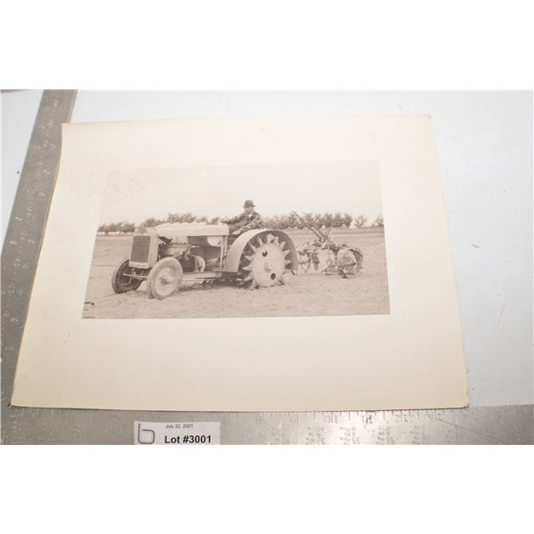ANTIQUE PICTURE - TRACTOR WITH CAST WHEELS