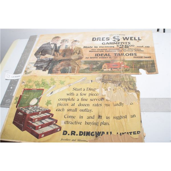 2 X ANTIQUE TROLLEY CARD ADVERTISING SIGNS,