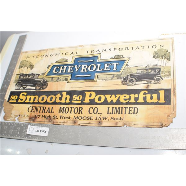 ANTIQUE TROLLEY CARD ADVERTISING SIGN CHEVROLET