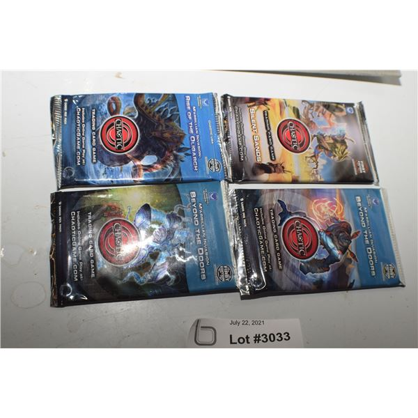 4 NOS CHAOTIC TRADING CARDS 1ST EDITION