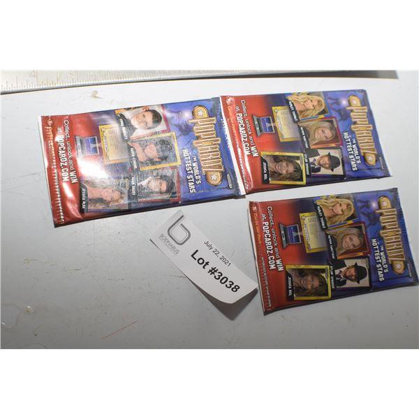 3 NOS POP CARDZ   TRADING CARDS