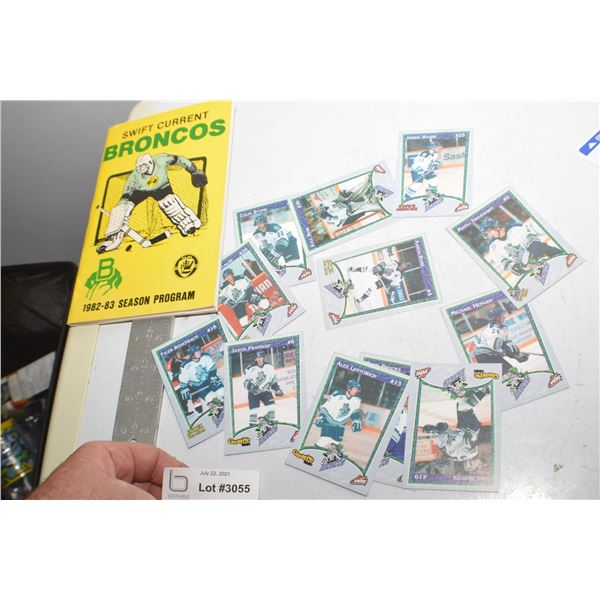 SWIFT CURRENT BRONCOS PROGRAM AND HOCKEY CARDS