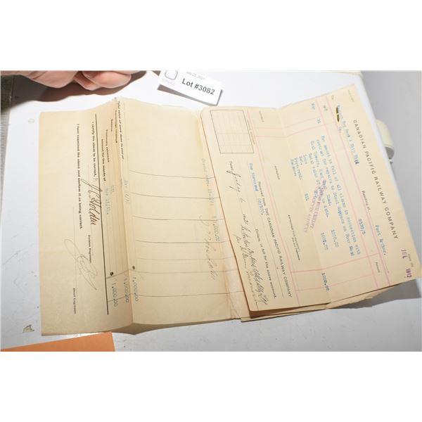 ANTIQUE 1912 CPR railway contract