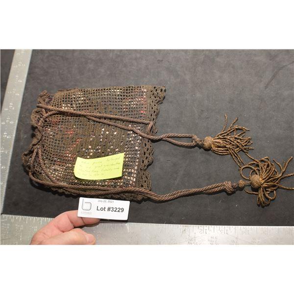 ANTIQUE 1800s PURSE WITH BRASS TASSLES