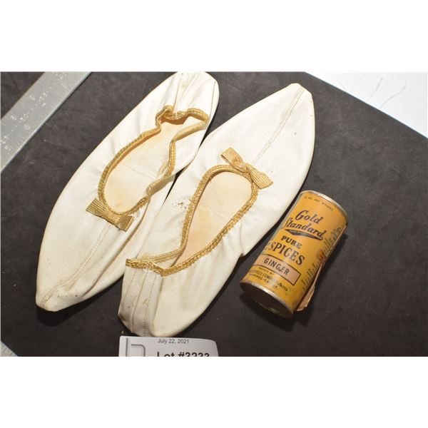 LEATHER LADIES SLIPPERS AND GOLD SPICE FULL TIN WITH COUPON