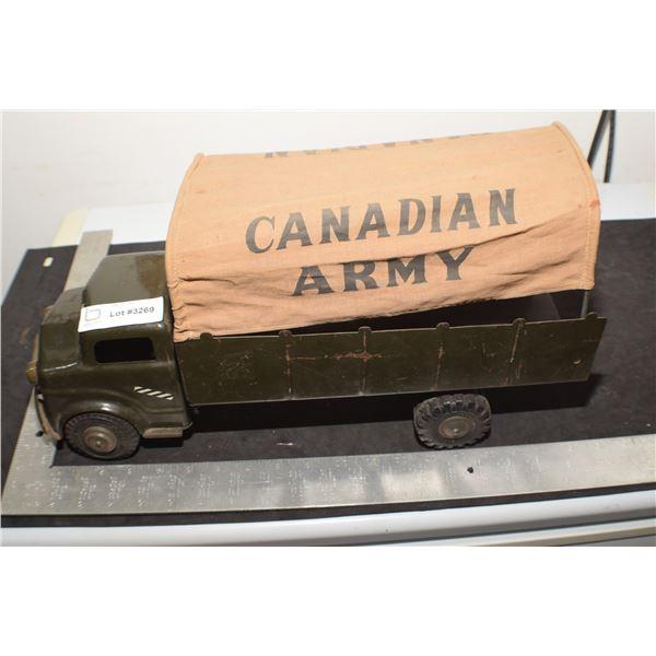 SCARCE CANADA ARMY LUMAR PRESSED STEEL MILITARY TOY TRUCK