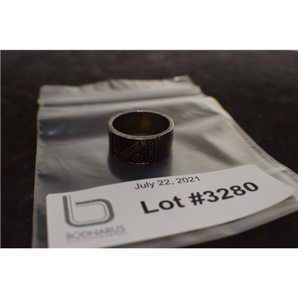 HEAVY STERLING SILVER SCHOOL RING / BAND