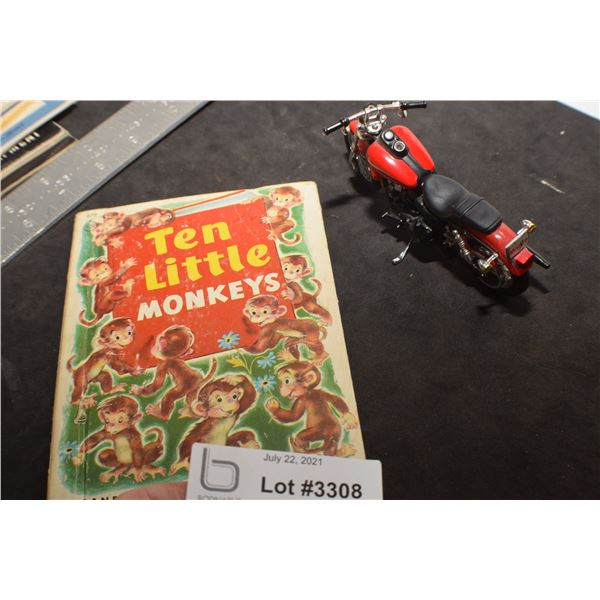 HARLEY DAVIDSON MOTORCYCLE TOY AND ANTIQUE BOOK
