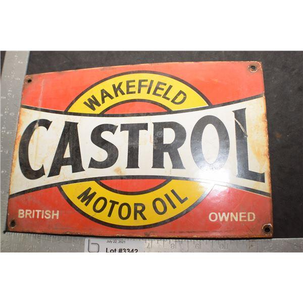 HEAVY PORCELAIN STEEL ADVERTISING FANTASY SIGN......WAKEFIELD CASTROL OIL