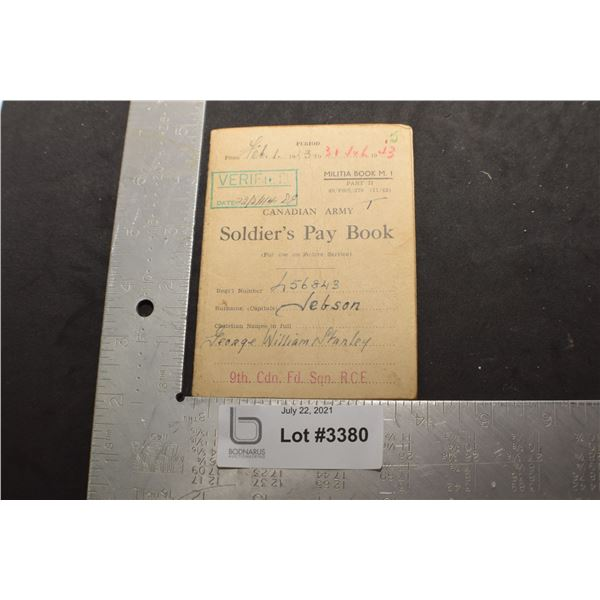WWII CANADA CANADIAN SOLDIER PAY BOOK