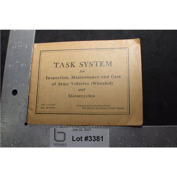 WWII CANADA CANADIAN SOLDIER TASK BOOK MOTORCYLE AND VEHICLE