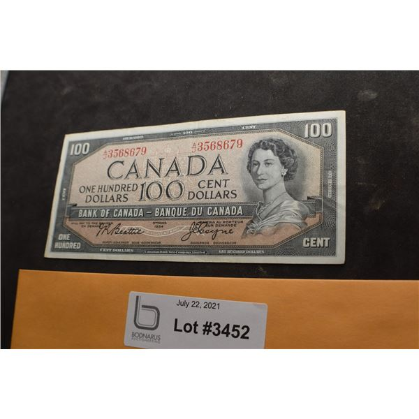 1954 CANADA CANADIAN $100 MONEY BILL BANK NOTE