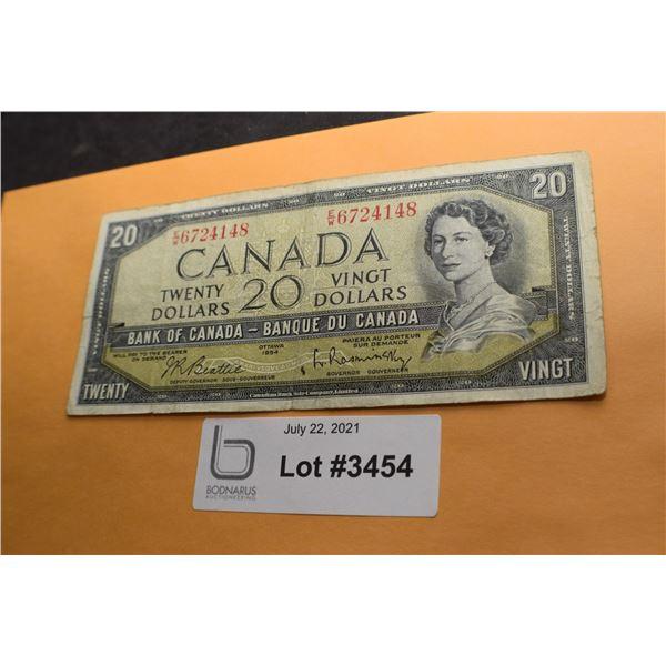 1954 CANADA CANADIAN $20 MONEY BILL BANK NOTE