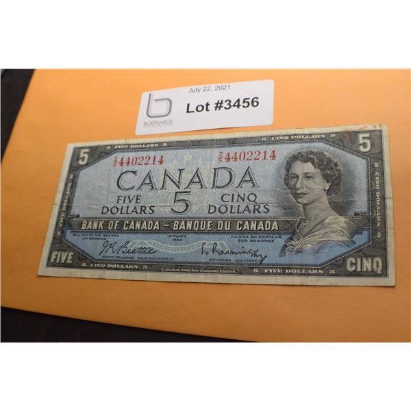 1954 CANADA CANADIAN $5 MONEY BILL BANK NOTE