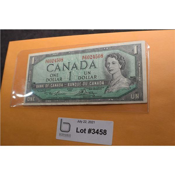 1954 CANADA CANADIAN $1 MONEY BILL BANK NOTE