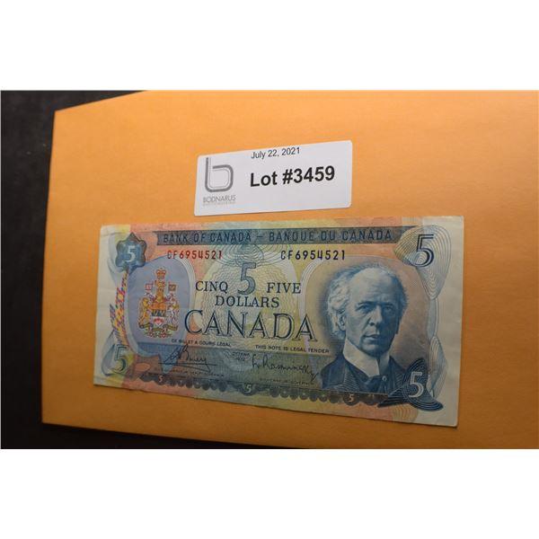 1972 CANADA CANADIAN $5 MONEY BILL BANK NOTE