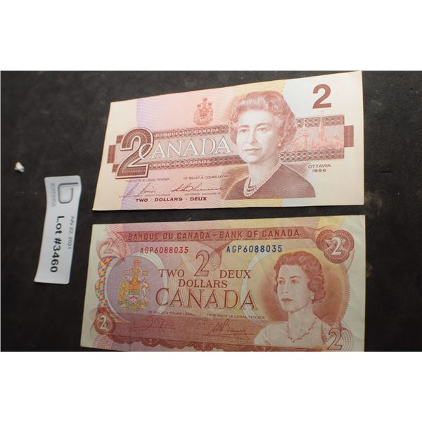 1974 AND 1984 CANADA CANADIAN $2 MONEY BILL BANK NOTE