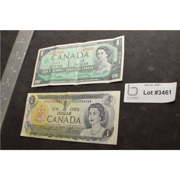 1973 AND 1967 CANADA CANADIAN $1 MONEY BILL BANK NOTE