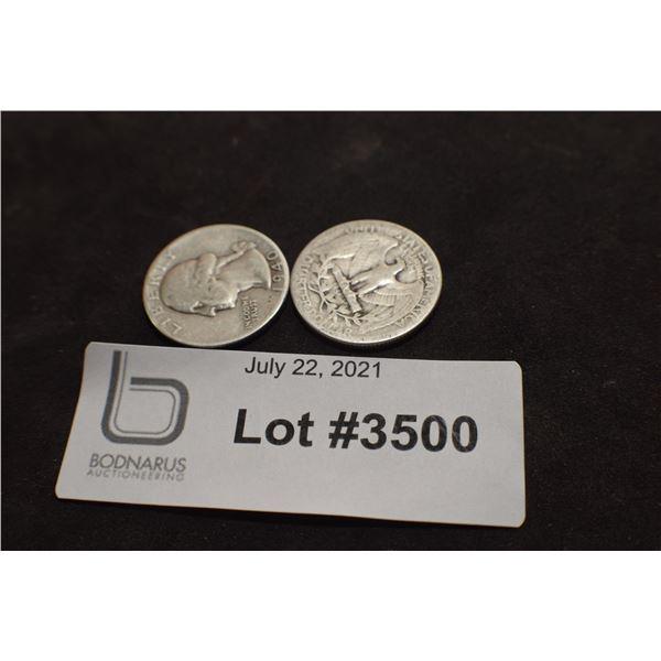 1940 1939   USA SILVER 1/4 QUARTER DOLLAR COIN