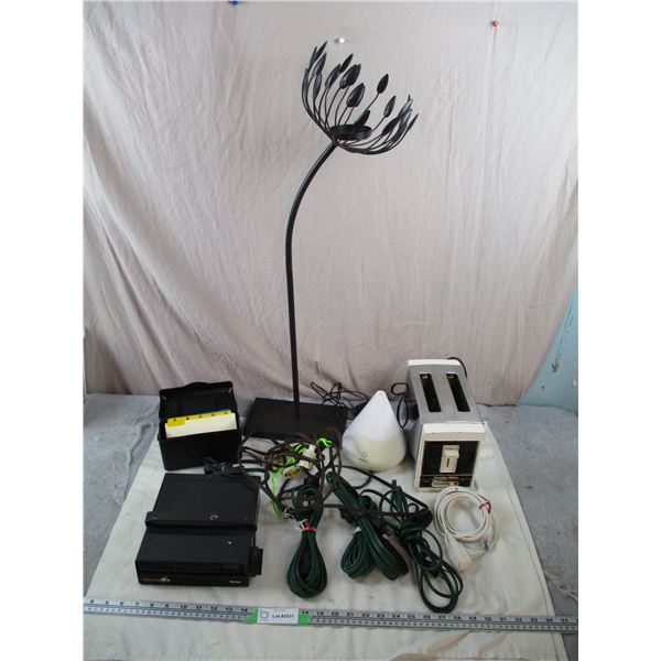 Decorative Stand, oil difuser, toaster, car space heater + cords