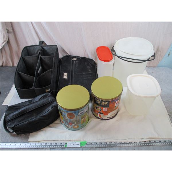 Tupperware, storage containers, travel bags