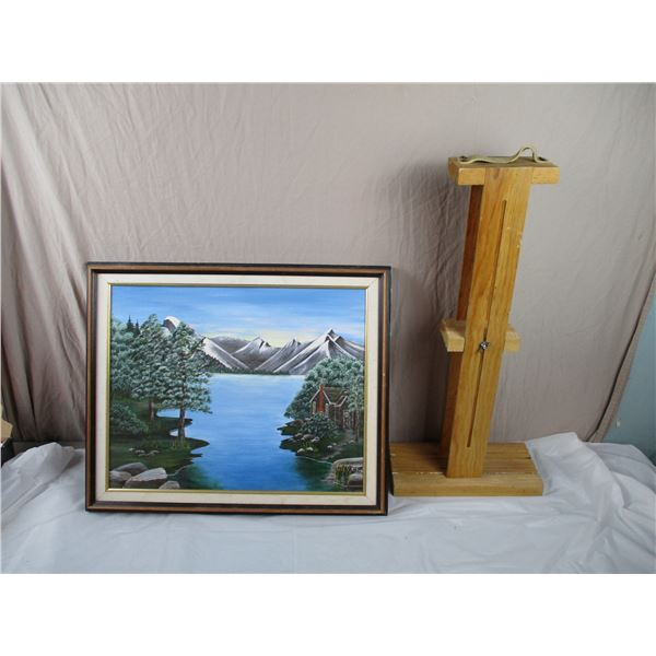 Original Oil Painting + Wooden Painting Transporter - Cabin in the woods