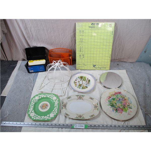 Organizer, Hat Dryer, corkboard, plates, misc