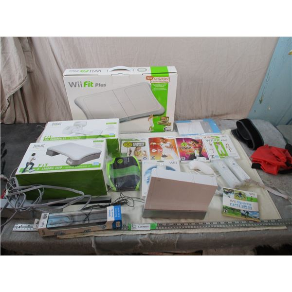 Wii Console - 2 controllers, hookups, and WiiFit Plus Pad, Dumbbells, Step