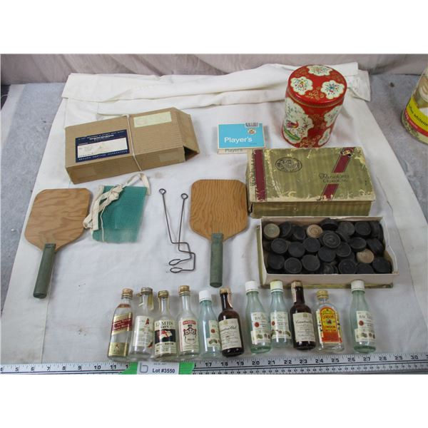 Lot of Vintage items - peacock tin, bottles, checkers, paddles