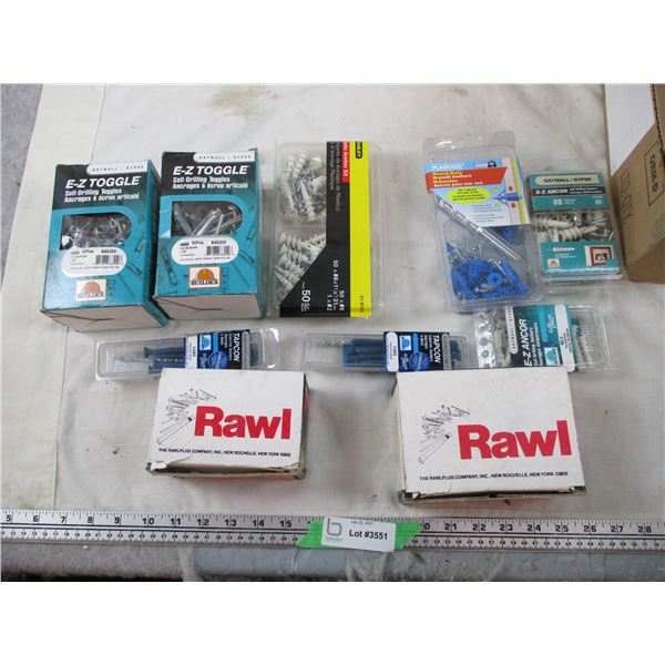 Dry wall Screws + Anchors, bolts, etc