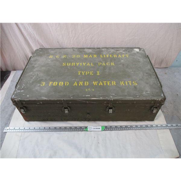 Large 20-man LifeRaft Survival Pack Metal Crate