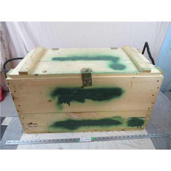 Large Wooden Military Crate - 31x16x17