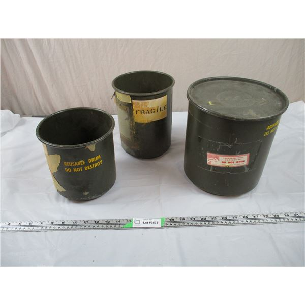 """3 Small Military Drums - 9"""" and 7"""" diameter"""