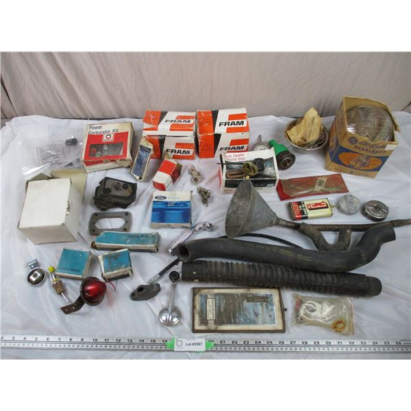 Vintage Car parts, Thermometer, Ball joint, Oil Filters, Headlamp, Muffler Clamp