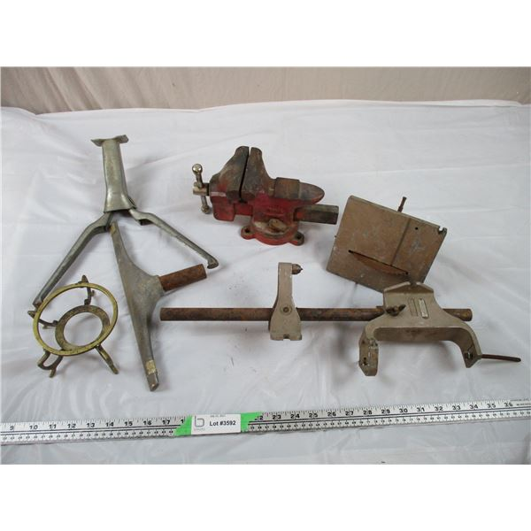 Vintage Saw Parts, Bicycle Stand, Table Vice