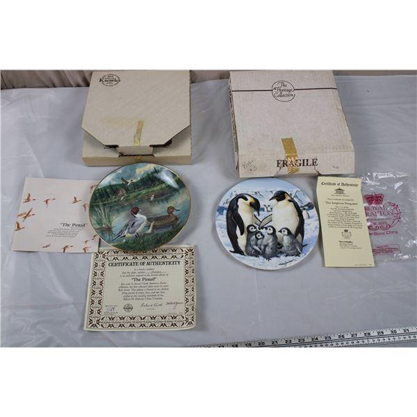 Edwin Knowles Ducks + Royal Grafton Penguins - collector plates with box/CoA